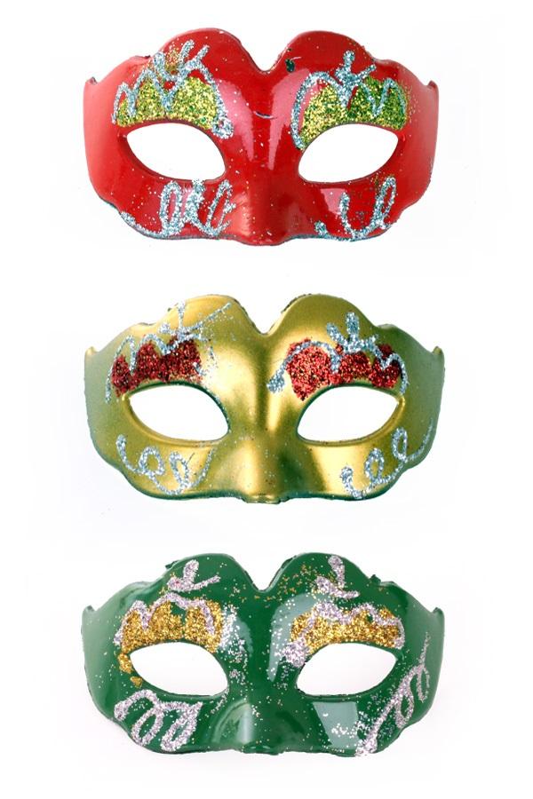 Mini Decoratie oogmasker rood/geel/groen met glitters 1