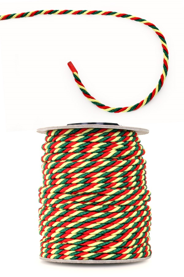 3 mm viscose medaille koord rood-geel-groen