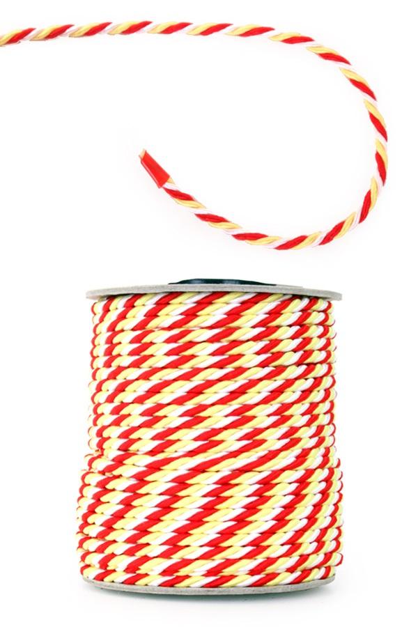3 mm viscose medaille koord rood-wit-geel