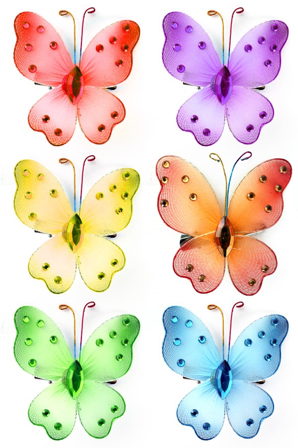 Vlinders 6 x op kaart met clip 1