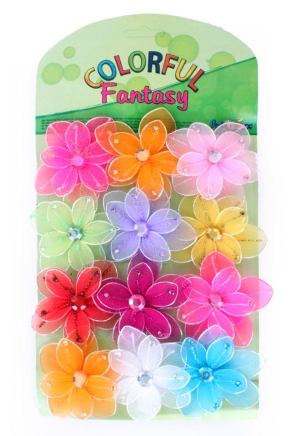 Bloemen 12 x small op kaart ass kleuren met clip 1