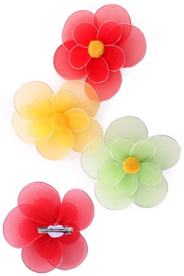 Bloemen 6 x medium rood/geel/groen met clip op kaart 1