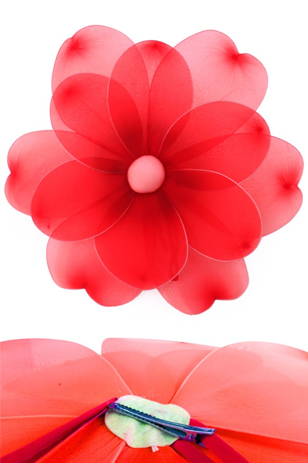 Bloem rood deco dia 55 cm met clip 1