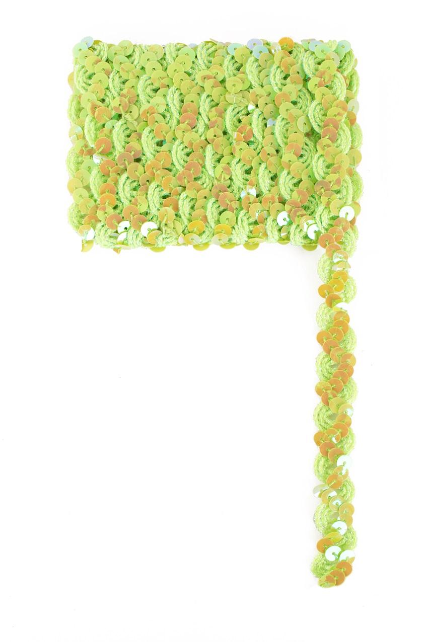 Paillettenband golvend lime 3m 1