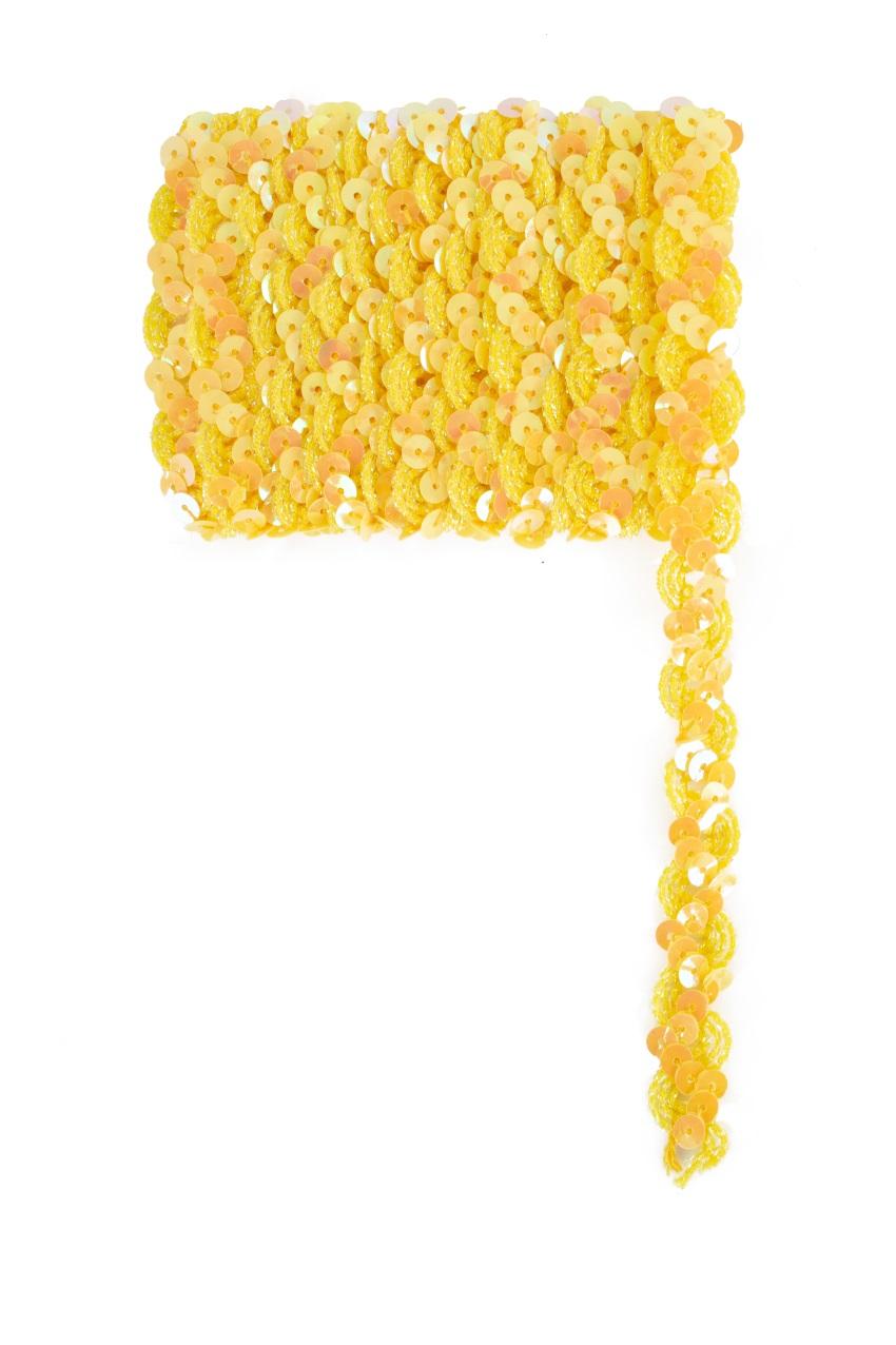 Paillettenband golvend geel 3m 1