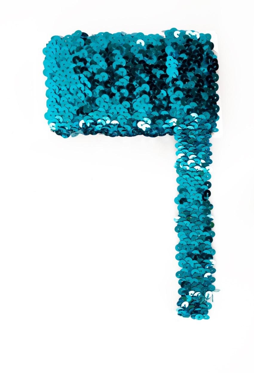 Paillettenband breed elastisch turquoise 3m 1