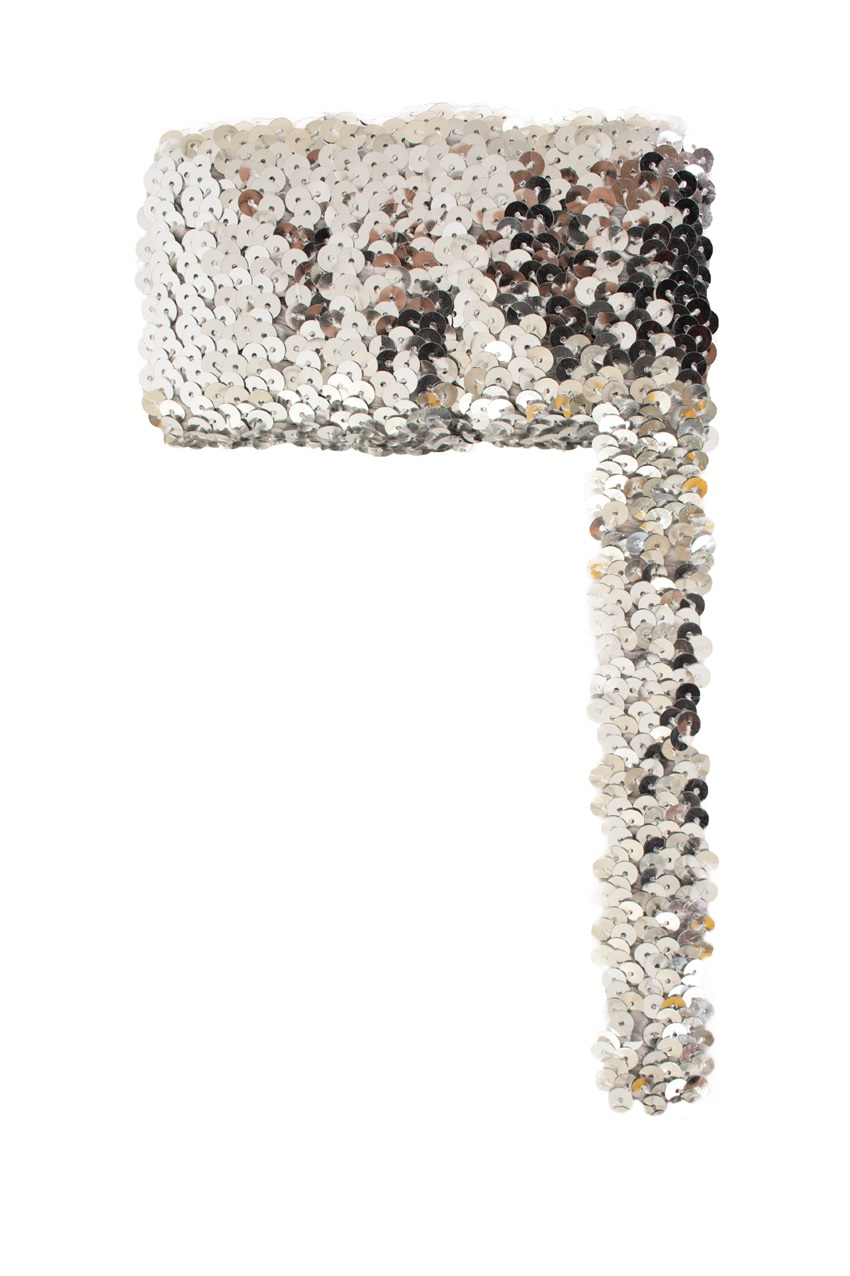 Paillettenband breed elastisch zilver 3m 1