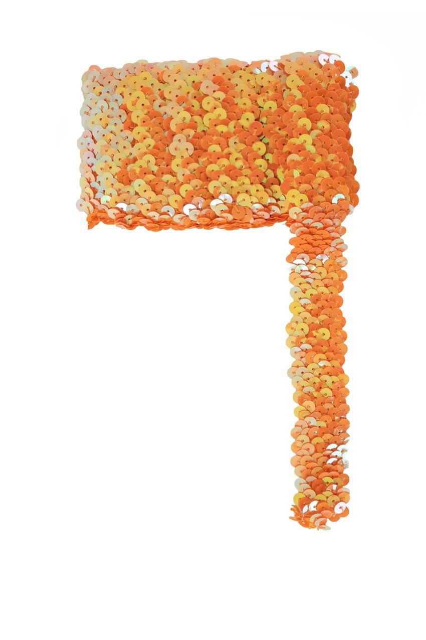 Paillettenband breed elastisch oranje 3m 1