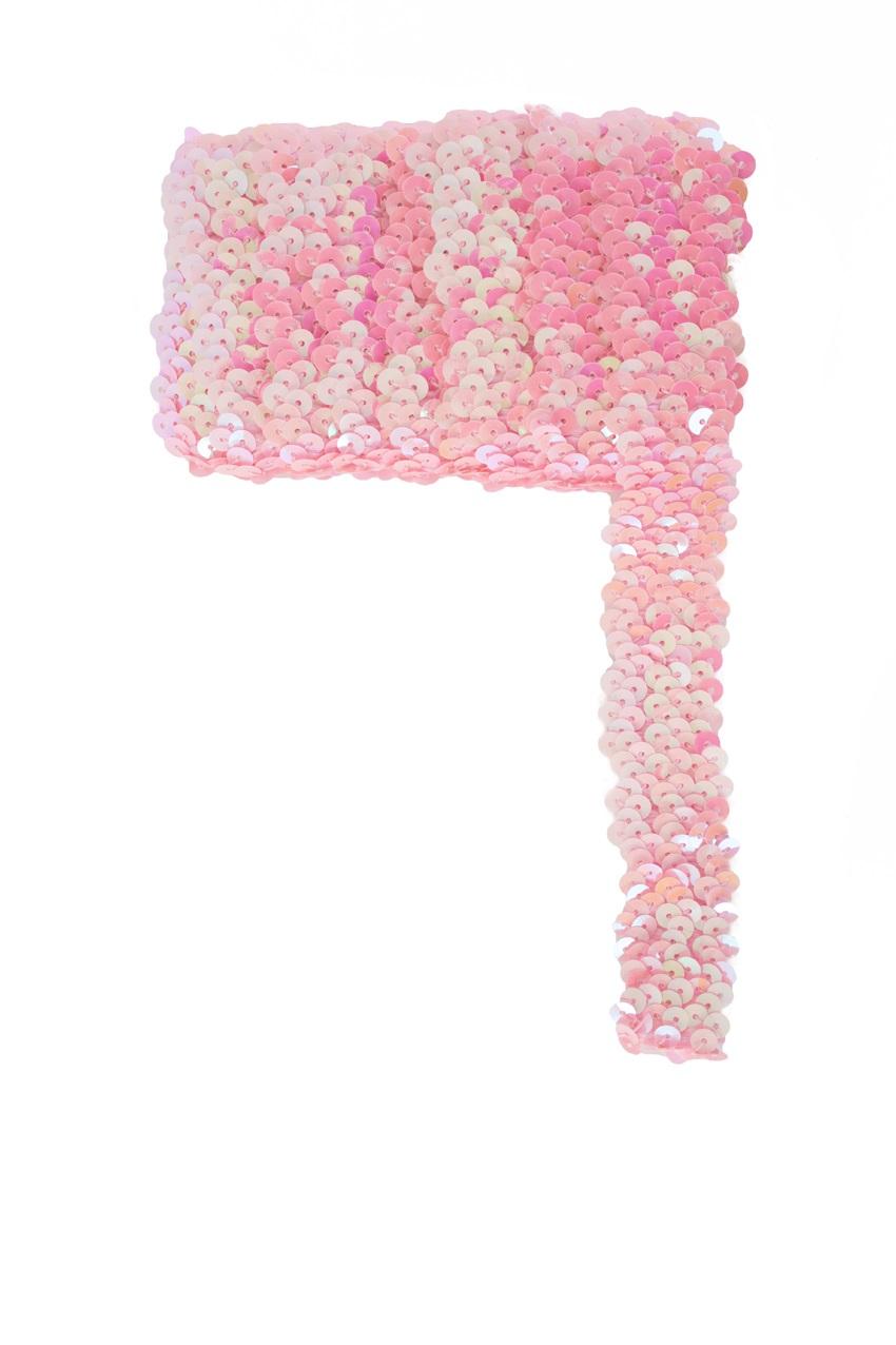 Paillettenband breed elastisch licht roze 3m 1