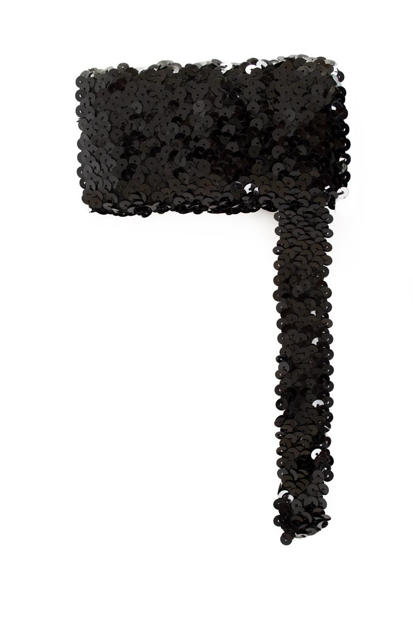 Paillettenband breed elastisch zwart 3m 1