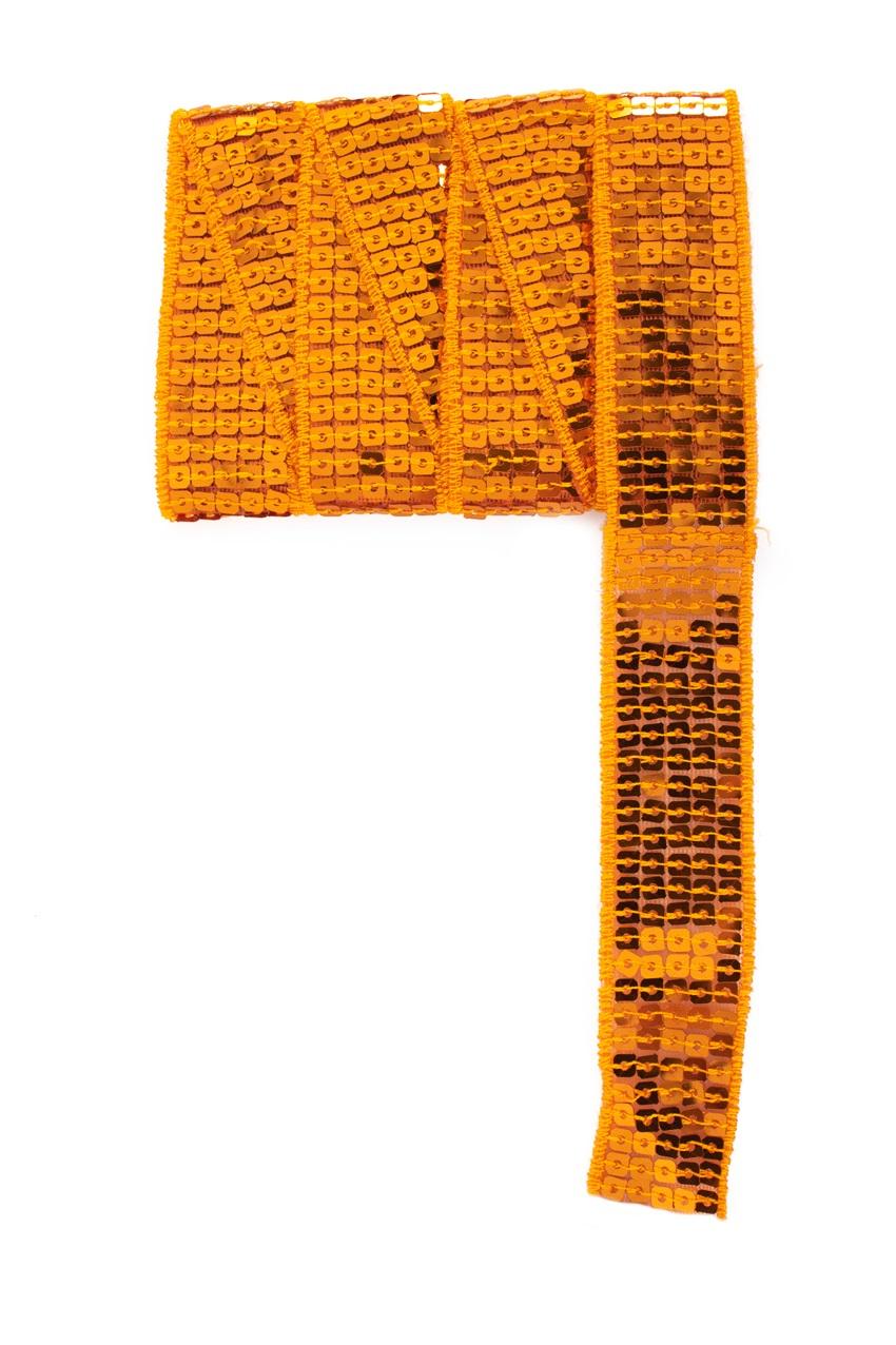 Paillettenband recht oranje 3m 1
