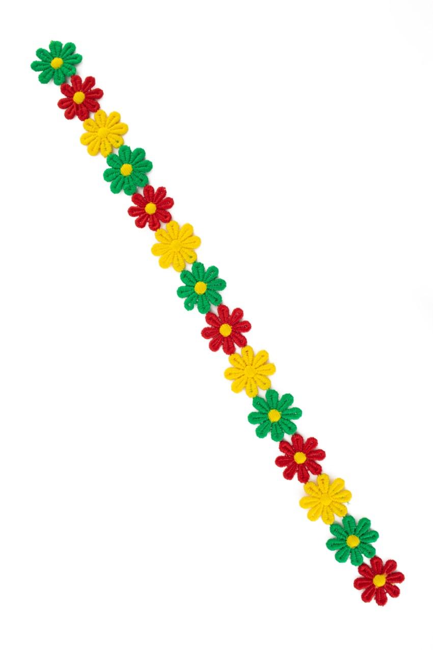 Bloemetjesband 3m rood-geel-groen 1
