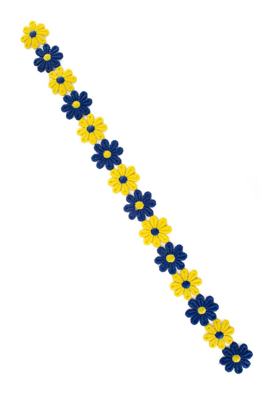 Bloemetjesband 3m blauw-geel 1
