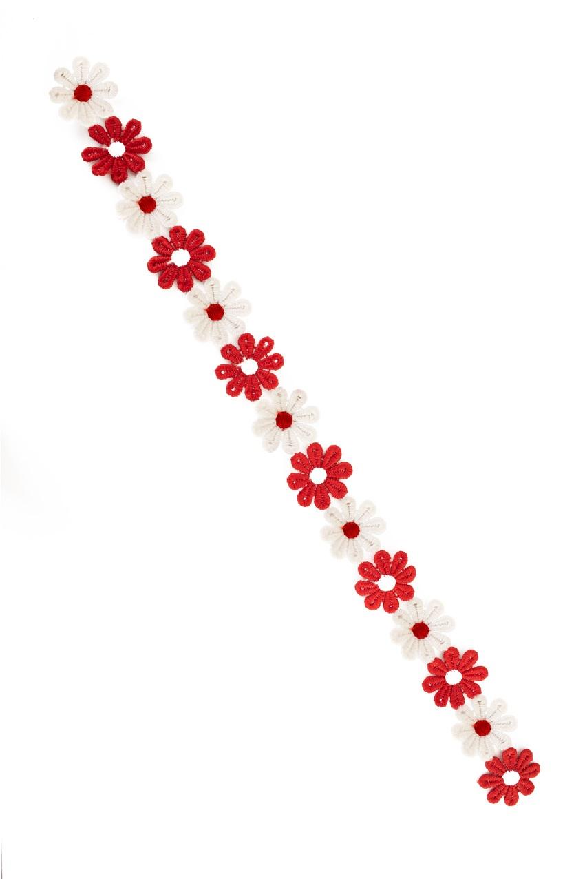 Bloemetjesband 3m rood-wit 1