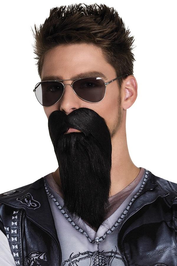 Baard met snor biker zwart