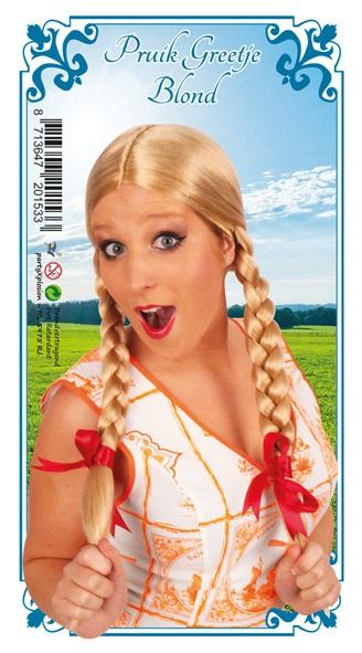 Pruik greetje blond met vlechten en rode strikjes 1