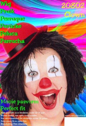 Clownspruik zwart 1