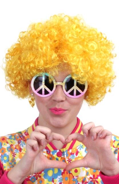 Pruik hippy geel 1