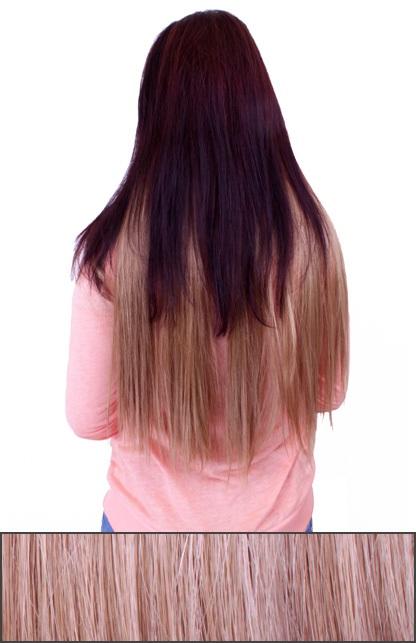 Haarstukje licht blond met 5 clips 1