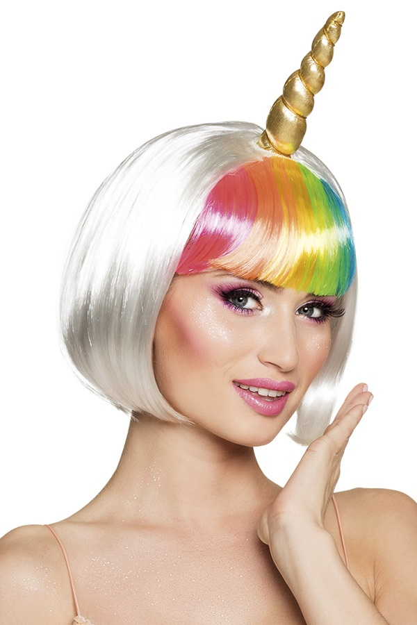 Pruik unicorn multicolour kort model 1