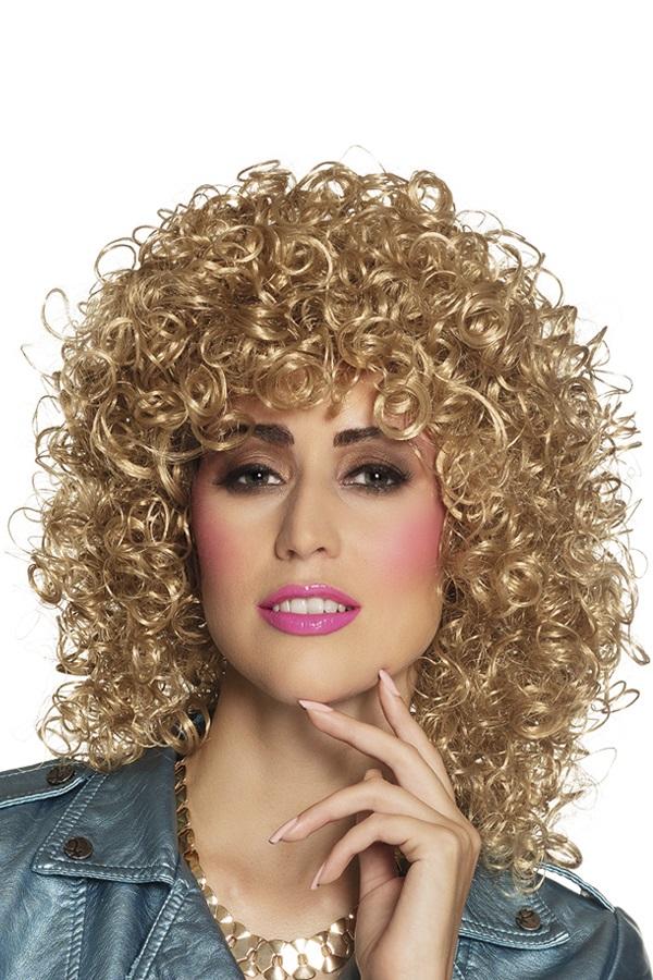 Pruik met krullen Club blond 1