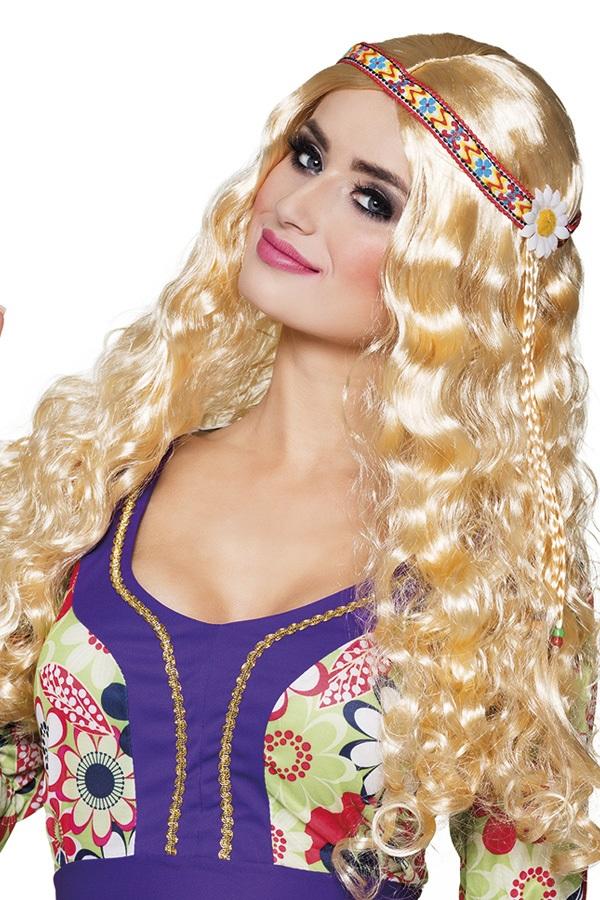 Hippie pruik met hoofdband blond 1