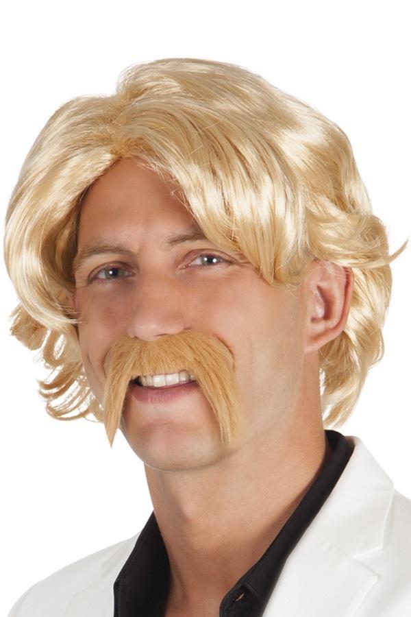 Pruik met snor Chuck blond 1