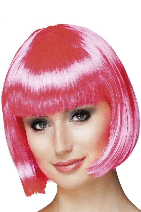 Pruik Bobline hard roze 1