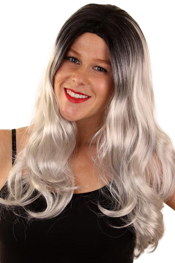 Pruik Louise grijs/zwart 1