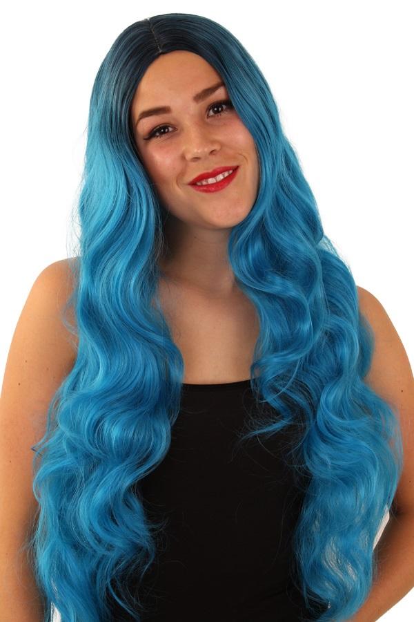 Pruik Faye turquoise  1