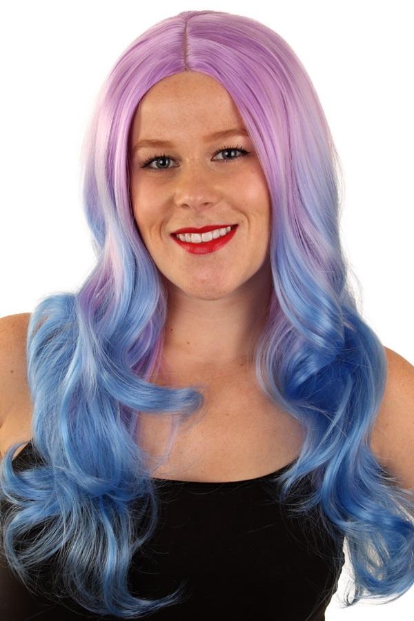 Pruik Lexi lila/blauw  1