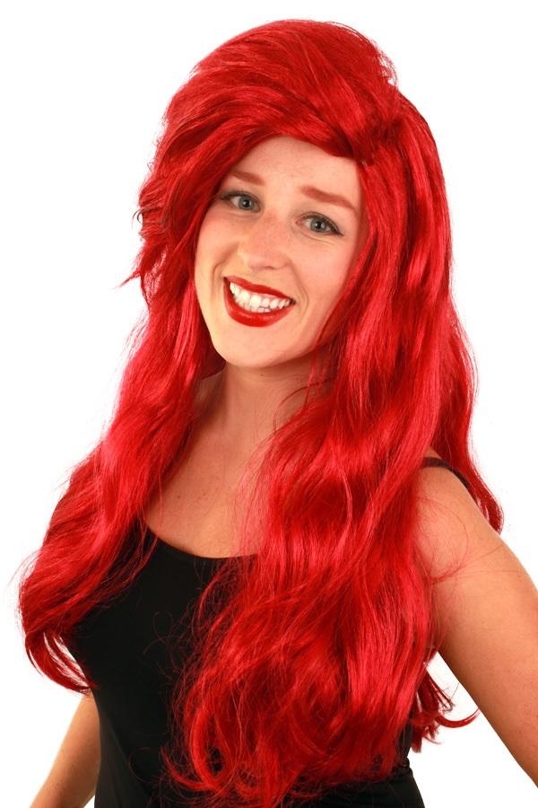 Pruik Arielle rood lang haar 1