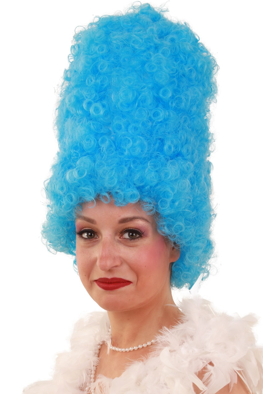 Pruik Curly hoog  turquoise 1