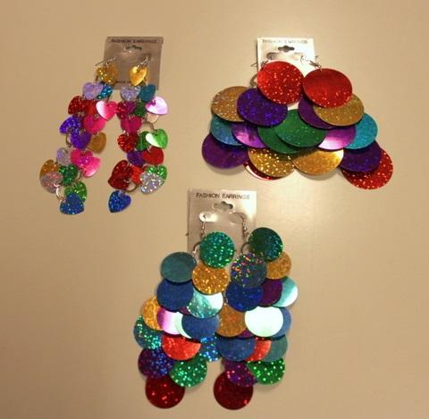 Oorbellen schijfjes groot metallic kleuren  1