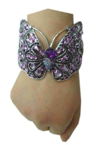 Armband luxe vlinder zilver/paars 1