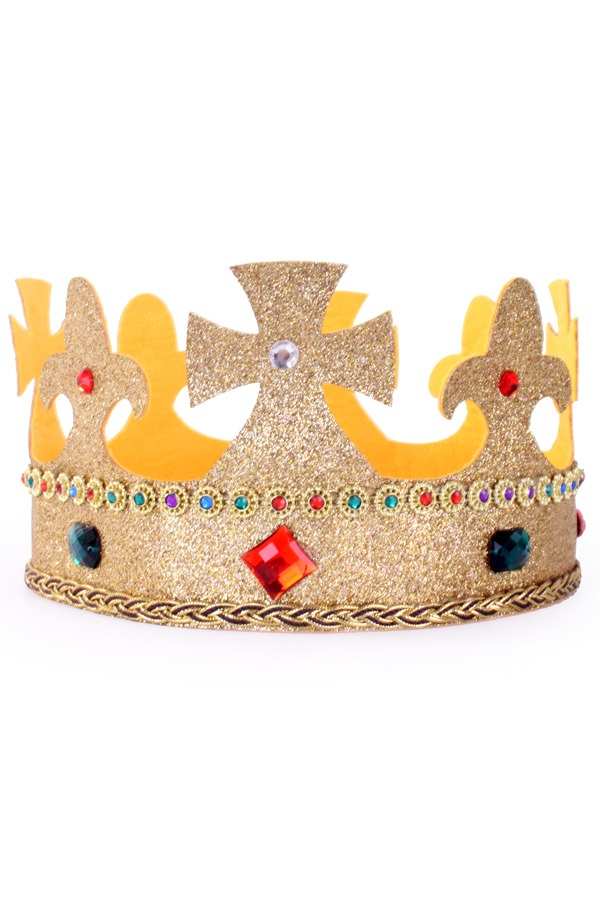 Kroon koning verstelbaar goud glitter met stenen 1