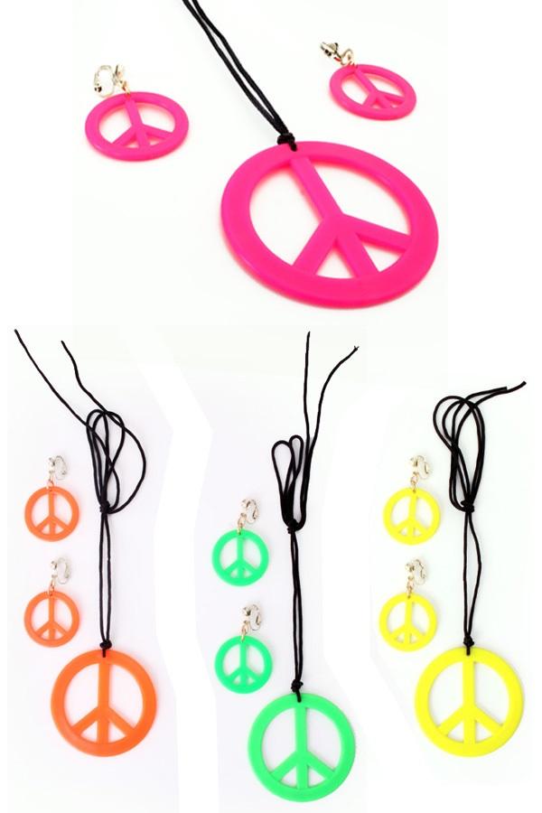 Peace ketting + oorbellen neon kleuren  1