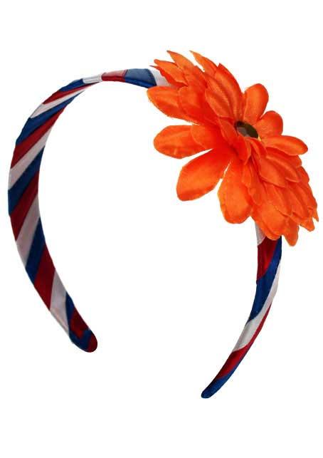 Diadeem rood/wit/blauw met oranje bloem  1