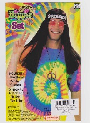 Hippieset bril/hoofdband/peaceketting 1
