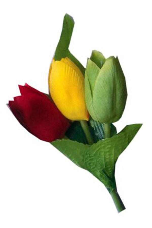 Broche 3 tulpen rood/geel/groen 1
