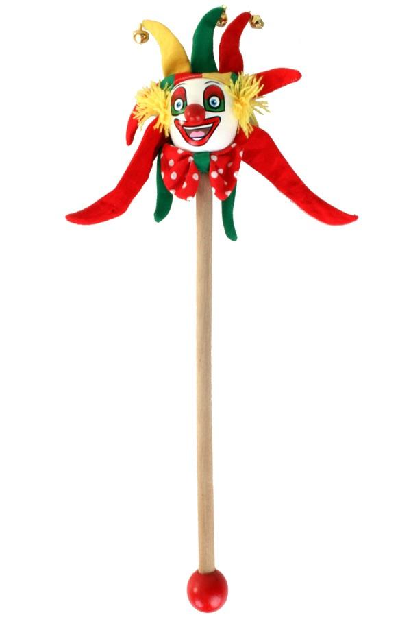Clown rood-geel-groen op stokje 30 cm 1