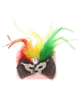 Broche met oogmasker en veren rood/geel/groen 1
