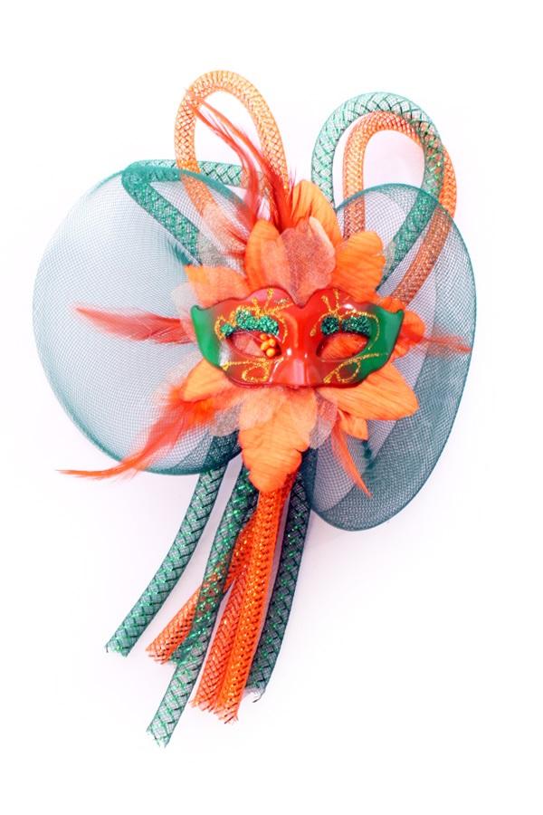 Broche bloem, tubes en oogmasker oranje/groen 1