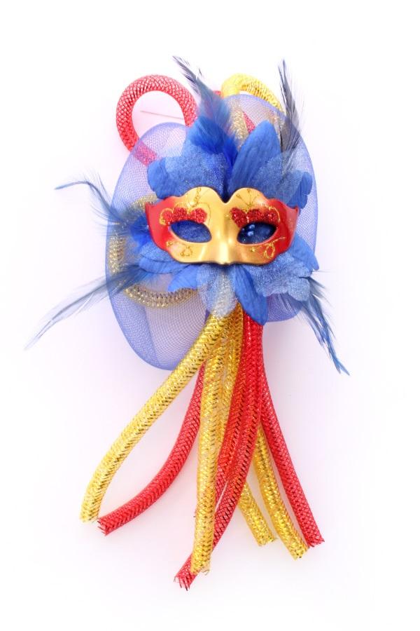 Broche bloem, tubes en oogmasker rood/geel/blauw 1
