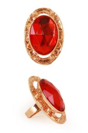 Sint ring rode steen met gouden rand