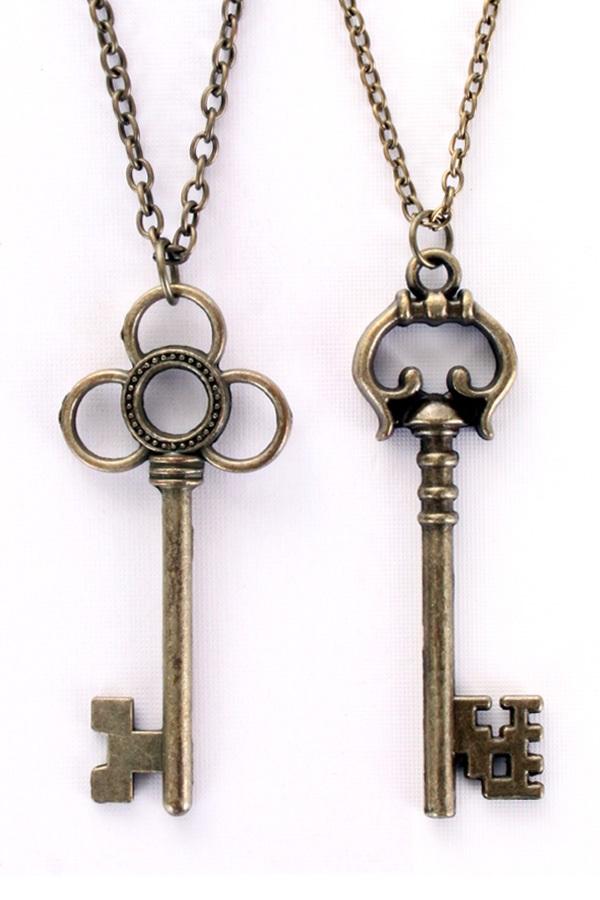 Ketting sleutels brons 2 assorti 1