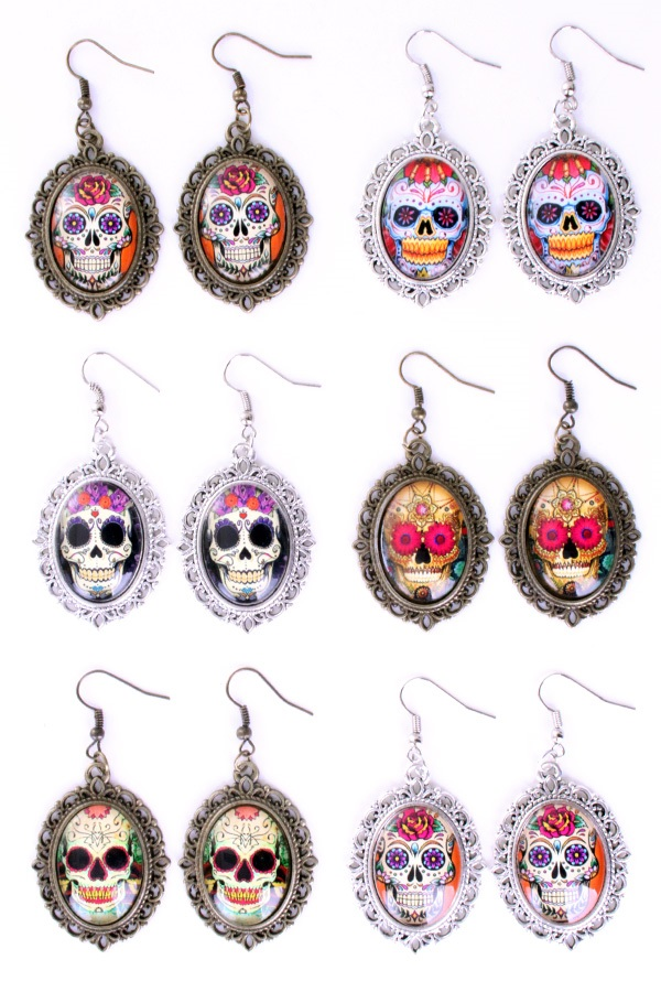Oorbellen Sugar skull 6 ass
