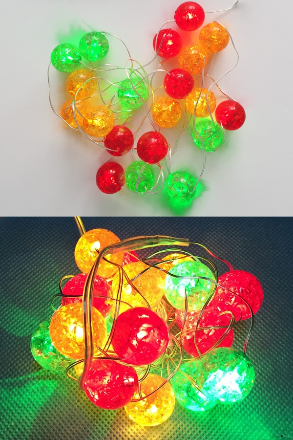 Ledverlichting snoer bolletjes rood/geel/groen 20 lamps 1