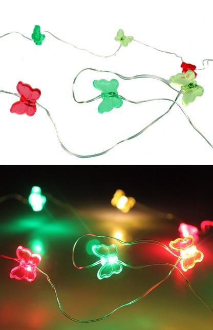Ledverlichting snoer vlinders rood/geel/groen 20 lamps 1
