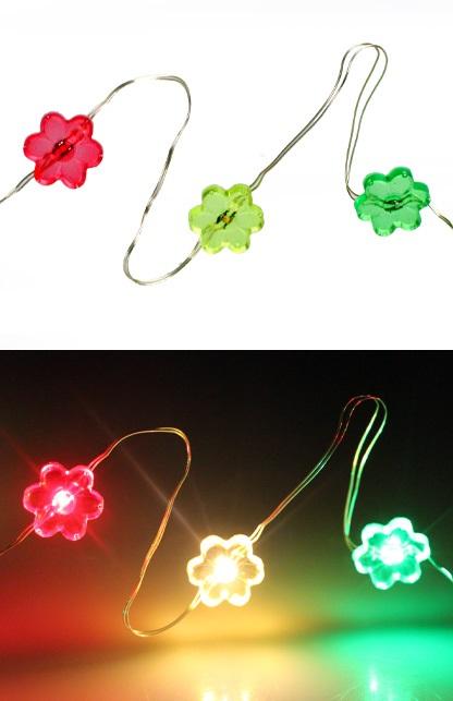 Ledverlichting snoer bloemetjes rood/geel/groen 20 lamps 1